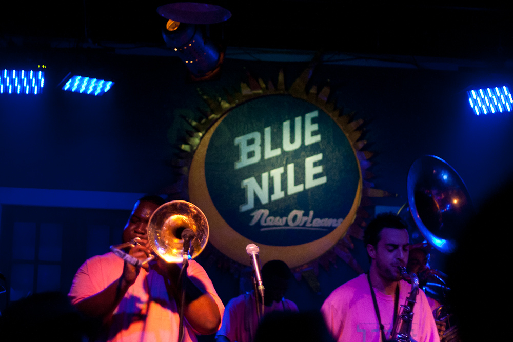 Live brass band at the Blue Nile
