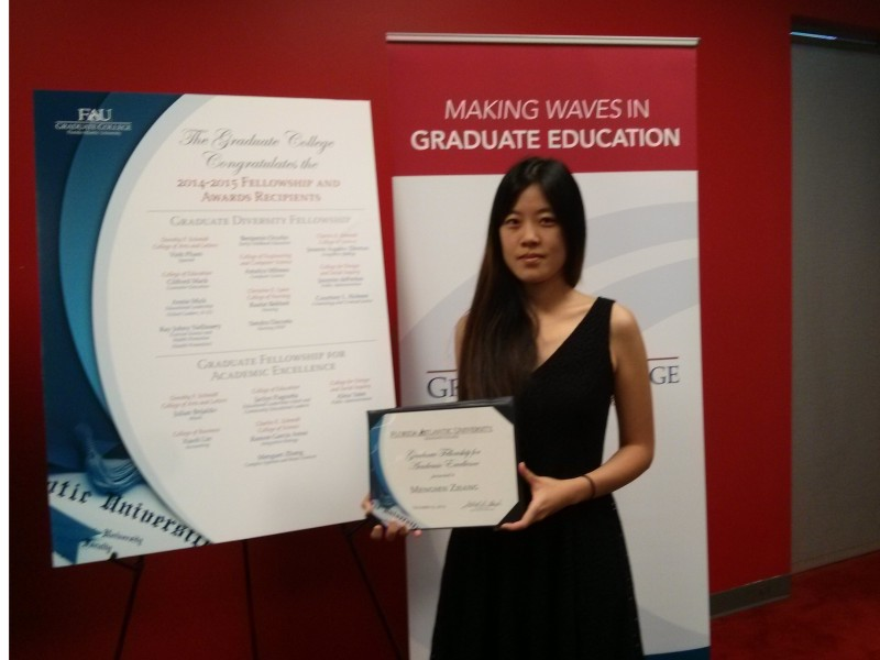 Mengsen Zhang receive FAU's Graduate Fellowship for Academic Excellence.